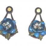blue rose leather earrings