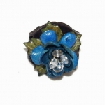 blue rose leather ring