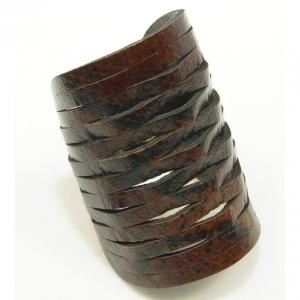 brown cobra leather cuff bracelet