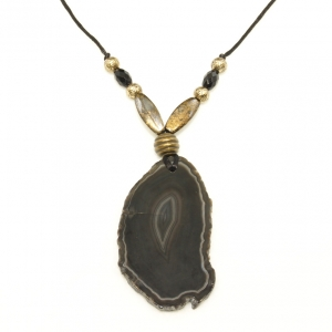 black agate stone necklace