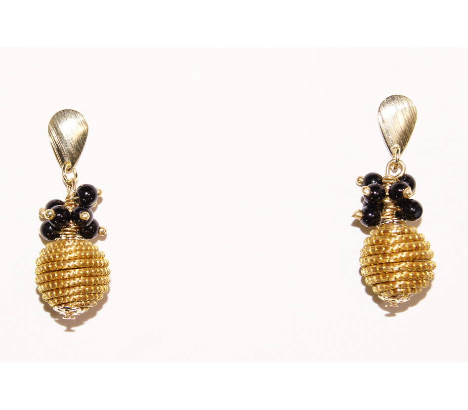 earrings lyst metallic gold tone in gallery goldtone stud black juicy jewelry stone product color couture no