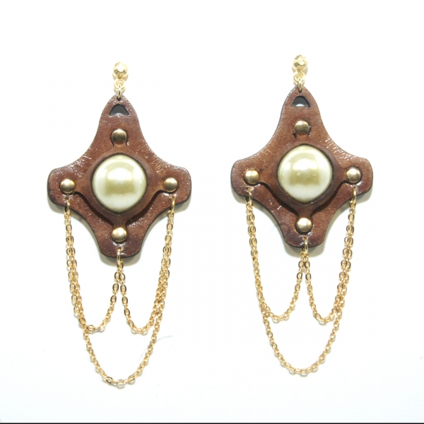 bold pearl leather earrings