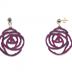 burgundy rose leather earrings