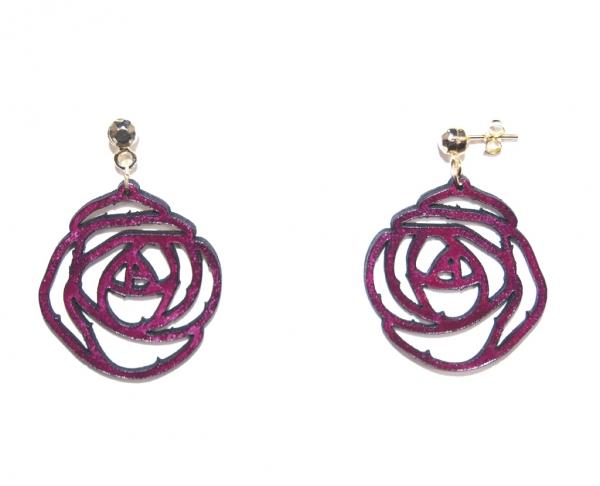 burgundy rose leather earrings
