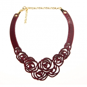 burgundy rose leather necklace