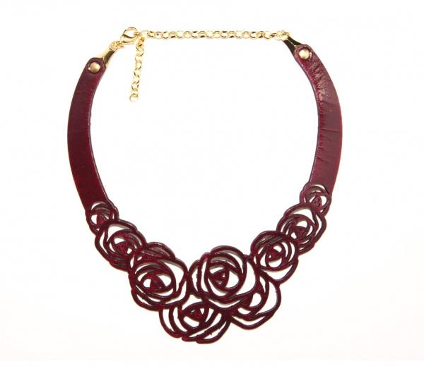 burgundy rose leather necklace