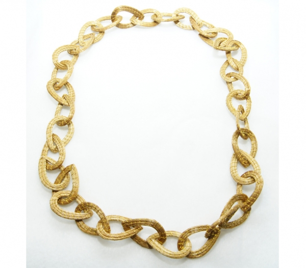 golden grass chain link necklace