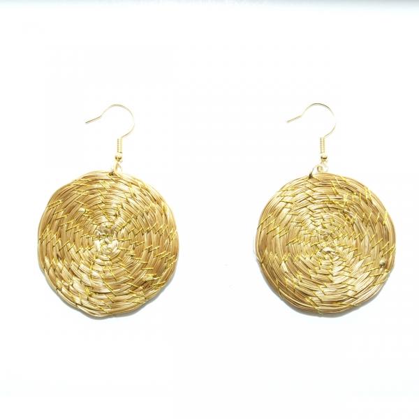 Golden Grass Disk Earrings