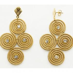 golden grass four spiral earrings