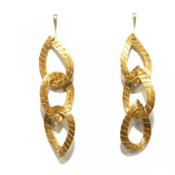 golden grass chain link earring
