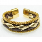 golden grass brown and gold leather ring