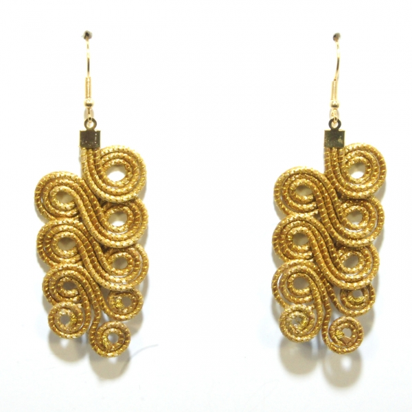 golden grass swirl drop earrings