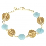 golden grass tara light blue bead bracelet
