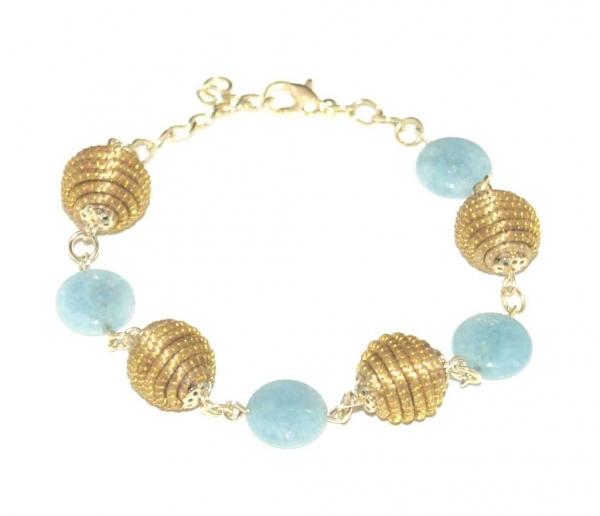 golden grass tara light blue bead bracelet