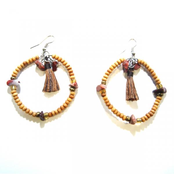 brown bead hoop earrings