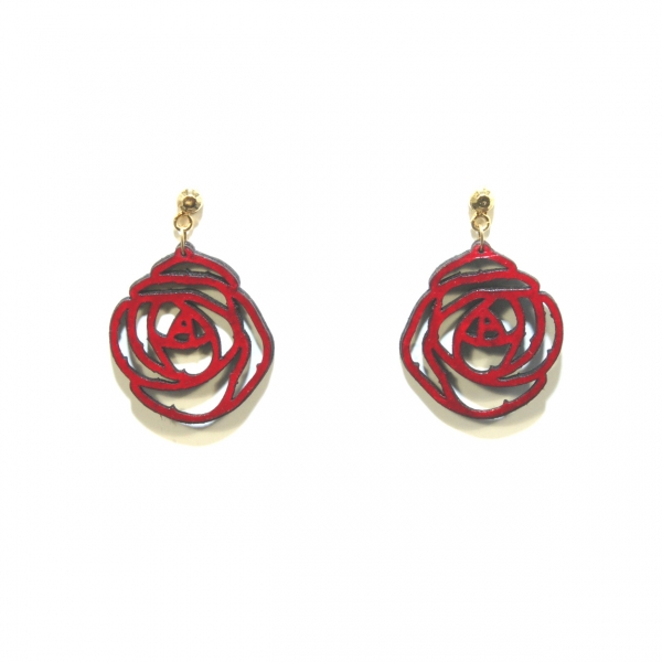 red rose leather earrings