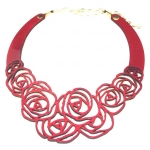 red rose leather necklace
