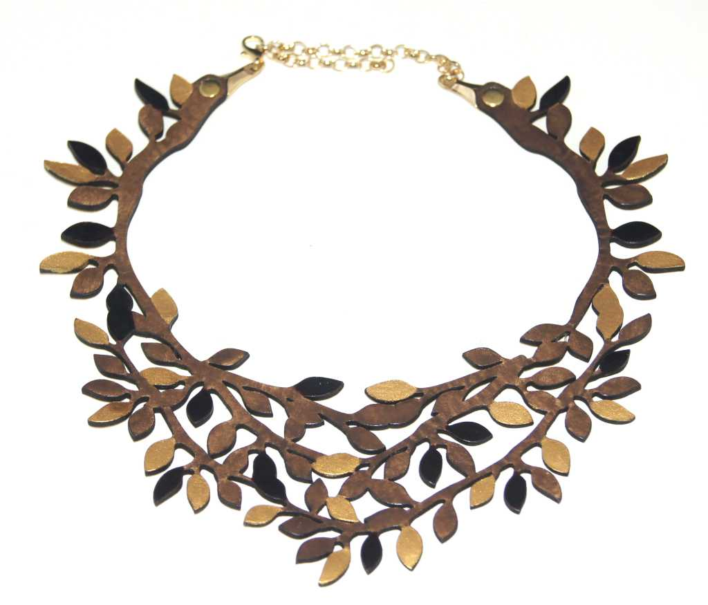 Brown/Gold Leaf Leather Necklace