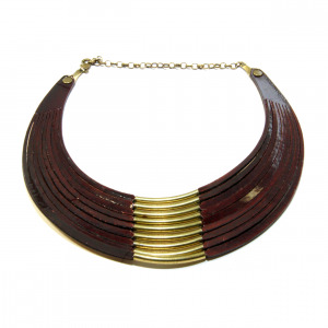 brown collar leather necklace