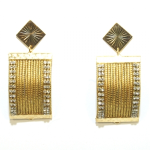 curved golden grass earrings with rhinestone