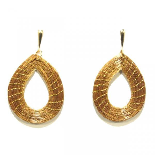 golden grass teardrop earrings