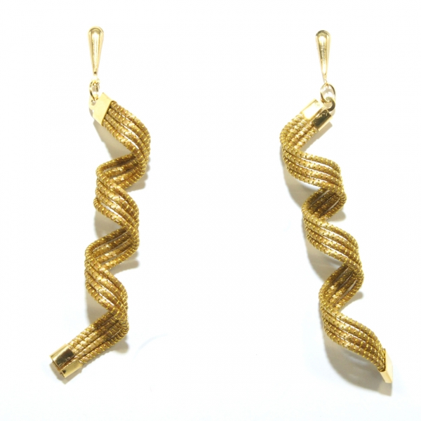 long spiral golden grass earrings