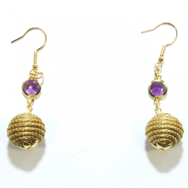 golden grass earrings with orb and amethyst