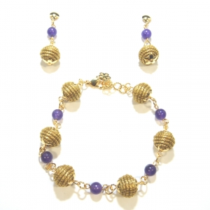 Orb and Amethyst Bracelet and Earrings
