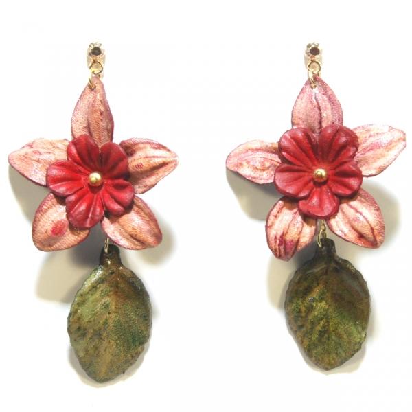 pink flower leather earrings