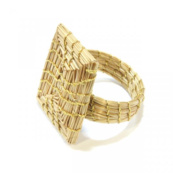 rectangular golden grass ring