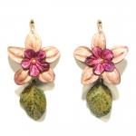 violet flower leather earrings
