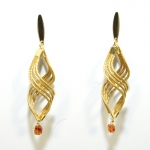 wavy golden grass earring with stone