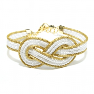 white infinity golden grass bracelet