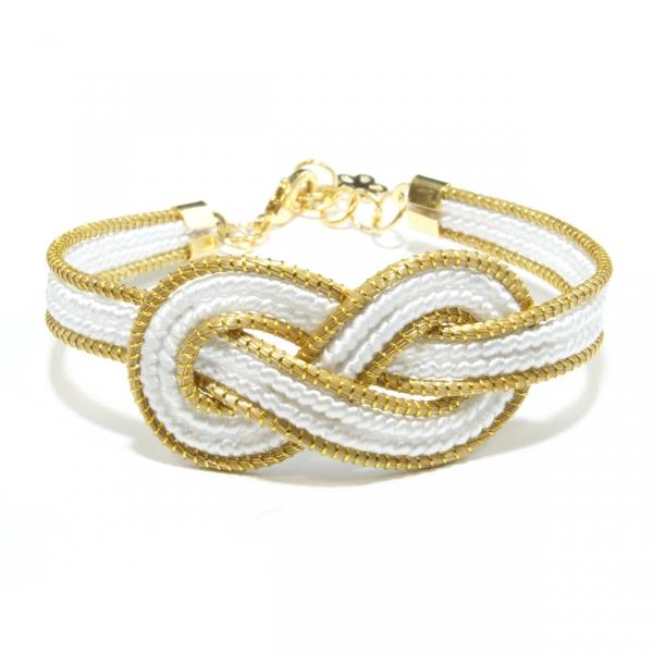 white infinity golden grass bracelet