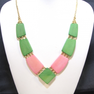 angler pink green necklace