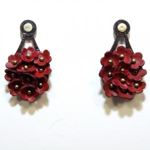 Red leather multi-flower earrings