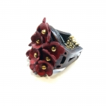 leather red multiflower ring