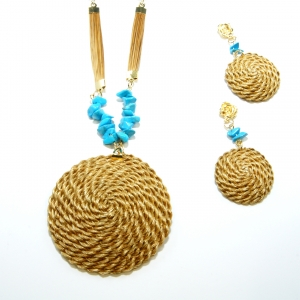 Golden Grass Disk necklace and earring set with turquoise stone accents