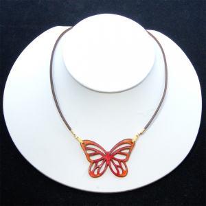 orange mini-monarch necklace