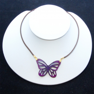 purple mini-monarch necklace