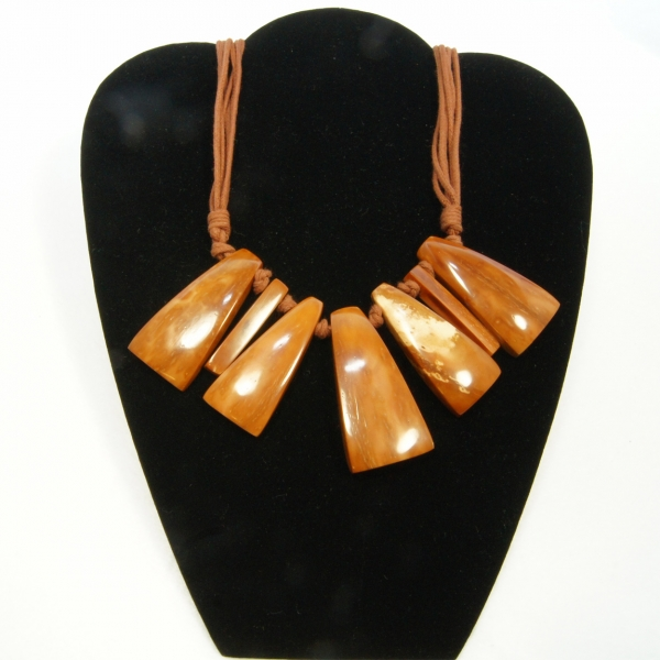 geometric wood necklace