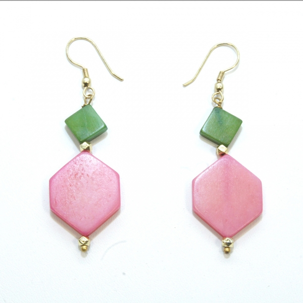 angler pink green earrings