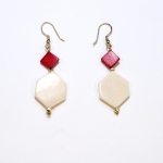 angler red white earrings