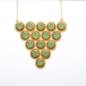 Green Triangle Beaded Necklace